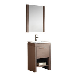 "Fine Fixtures - Fine Fixtures Complete Modena Vanity Collection, Gray Oak, 24"", Vanity - Modena proves that simplicity mustn't constitute staleness. To the contrary: It delivers a modern, no-frills look that highlights function. It also displays an understanding of how home layouts may vary, by offering a standard 24""-wide size and a matching smaller 16'-wide size that is quite hard to find on the market. For added convenience, the vanity is designed with an open shelf on the bottom that can be used for open display storage and for quick access to frequently used items."