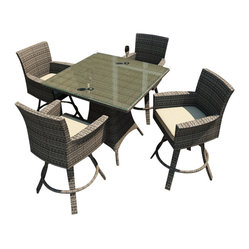 Forever Patio - Hampton 5 Piece Wicker Outdoor Bar Set, Heather Wicker and Beige Cushions - Whether you are enjoying dinner or drinks, the Forever Patio Hampton 5 Piece Wicker Outdoor Bar Set with Cream Sunbrella cushions (SKU FP-HAM-5BAR-HT-AC) provides chic outdoor bar seating that is perfect for entertaining. The set seats 4 adults comfortably, and includes 4 swivel bar stools and a pub table with a glass top. This set features Heather resin wicker, which is made from High-Density Polyethylene (HDPE) for outdoor use. Each strand of this outdoor wicker is infused with its natural color and UV-inhibitors that prevent cracking, chipping and fading ordinarily caused by sunlight, surpassing the quality of natural rattan. The set is supported by thick-gauged, powder-coated aluminum frames that make it extremely durable. Also included are fade- and mildew-resistant Sunbrella cushions. You will love to spend more time outdoors with this personalized, modern-looking patio bar set.