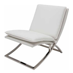 Nuevo Living - Neo Lounge Chair, White - A polished stainless steel base is the perfect contrast to this modern chair. Pick from white, gray or black Naugahyde for an ultra sleek look that would be right at home in any space. Then sit back and enjoy a cocktail in style.