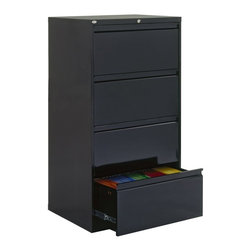 Sandusky Lee - Sandusky Lee 800 Series 30 Inch 4 Drawer Lateral Filing Cabinet - LF8F304-05 - Shop for File and Storage Cabinets from Hayneedle.com! The traditionally styled Sandusky Lee 800 Series 30 Inch 4 Drawer Lateral Filing Cabinet is packed with enough special features to catapult it to the top of home or office filing system options. Built with durable commercial-grade welded steel the cabinet features four massive 19.25-inch drawers equipped to hold letter and legal files on side-to-side hanging rails. Drawers feature rolled edges for strength rigidity and safety and they fully extend on steel ball-bearing suspension slides with three telescoping sections.Drawer fronts are reinforced with steel and outfitted with aluminum handles. A center lock secures both sides of each drawer with the easy turn of a single key (two are included). The file cabinet stays firmly in place with a built-in anti-tipping interlocking system and an inner counterweight allows only one drawer to open at a time. Neutral powder-coat finishes fit into any design scheme and the cabinet arrives fully assembled so you can start storing immediately. ANSI/BFMA rated.About Sandusky Cabinets and Lee MetalSandusky Cabinets and Lee Metal have been major suppliers of steel storage solutions for nearly 70 years. Their diverse product line is tailored to the specific needs of office commercial industrial and educational markets while ensuring low logistics costs and fast delivery times which means the products are handled a minimal number of times in transit.Please note this product does not ship to Pennsylvania.