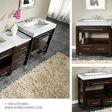 """Silkroad Exclusive 92"""" Double Sink Cabinet - White Marble, Vanity Top Sink (3 ho - Silkroad Exclusive 92"""" Double Sink Cabinet - White Marble, Vanity Top Sink (3 holes) HYP-0218-WM-92"""