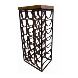 Arthur Umanoff - Pre-owned Arthur Umanoff Iron & Leather Wine Rack - Rack 'em up with this Mid-Century modern wine rack by Arthur Umanoff.  Featuring leather loops that are suspended between iron bars, it can accommodate 21 bottles of wine. The handsome piece is also topped with a solid piece of wood reminiscent of a butcher's block. Cheers!