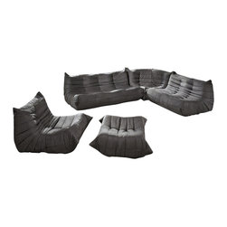 n/a - Downlow Sofa Set - 5 Piece Set, Dana Gray - Inspired by the Togo sofa collection designed by Michel Ducaroy, Downlow 5 Piece Set has an iconic classic design. Both inviting and comfortable, Downlow sofa set features ergonomic designs with multiple density foam constructions and luxurious easy-care microfiber upholstery. Bring the look of this truly impressive reproduction sectional into your house or vacation home, it will add value and enhance the look of your home. An instant hit, Downlow 5 Piece Set is a fine example of a great design without sacrificing comfort. Downlow Collection offered in 5 different pieces that you can mix and match armless chair, sofa, loveseat, corner seat, and ottoman; with modular design we suggest playing with the layout and arrange the seating to fit your personal living space.
