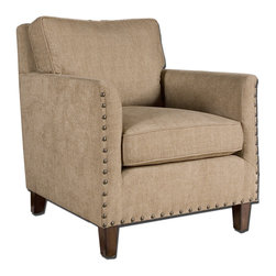 Uttermost - Uttermost Keturah Armchair in Sun Washed Pecan - Armchair in Sun Washed Pecan belongs to Keturah Collection by Uttermost Hardwood frame and comfortable, loose, box cushions tailored in a soft, dobby chenille in neutral driftwood. Squared off lines are softened by track arms curved on the inside and accented with oversized brass nails and sun washed pecan tapered, block feet Arm Chair (1)