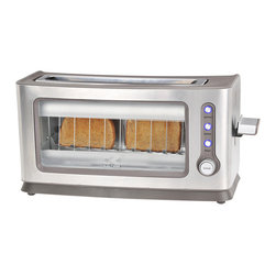 Kalorik - Kalorik Stainless Steel Glass Toaster - Wake your morning up with the chic Kalorik transparent glass side toaster. This toaster oven lets you see those slices gradually turning the shade of golden brown that meets your preference.