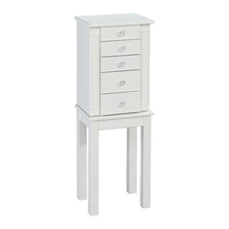 Powell - Powell White Cottage Jewelry Armoire - This jewelry armoire provides petite,perfectly chic storage for your jewelry. In a simple,square design with square legs,the armoire features clear acrylic drawer knobs.