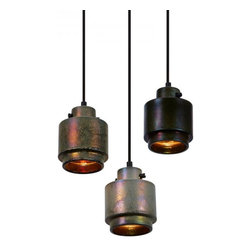 Industrial Copper Shade Pendant Lighting Round - The iridescent sheen is created by firing the stoneware shades at 1200°C using a top-secret glaze containing minerals and precious metals.The end result is a striking colour change effect reminiscent of peacock feathers or oil slicks on water.The shade reflects and refracts an extraordinary spectrum of colours both internally and when lit from outside.