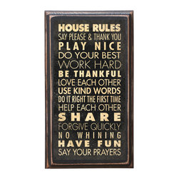 "CrestField - House Rules Decorative Vintage-Style Wall Plaque - This vintage style House Rules wall plaque is hand made. The pine board has a quarter round routed edge and is sized at 7.25"" x 13"" x .75"". The surface is finished with my ""flatter than satin"" poly finish with a saw tooth hanger on the back. Would look great in any decoration project, home or office."