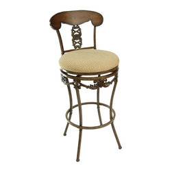 Ashley Blaire - Limoges Adjustable Swivel Bar Stool with Back - Bronze - 21-1563 - Shop for Stools from Hayneedle.com! Enjoy total comfort and versatility in one gorgeous piece. The Limoges Adjustable Swivel Bar Stool with Back - Bronze gives you everything you need to create a comfortable seating area that'll keep guests lingering. Constructed from durable metal this stool has a classic scrolled pattern on the back that repeats in an apron around the bottom edge of the round seat. It's finished in rich bronze with black highlighting for a textured antiqued effect; the darkness of the finish is highlighted by striped ivory fabric upholstery on the luxurious cushioned seat. The seat swivels a full 360 degrees too. This stool ships with patent pending leg extenders that let you use it in multiple arrangements; pair it with kitchen islands counters bistro tables or home bars. Adjust it from counter height with a 26.75-inch tall seat to full bar height with a 32.75-inch seat. Convert it back next time you rearrange - it's easy and convenient. One-year limited manufacturer's warranty included; some simple assembly required. Please note: This item is not intended for commercial use. Warranty applies to residential use only. Detailed Dimensions Overall height: 38.5 inches at 26.75-inch seat height; 44.5 inches at 32.75-inch seat height Overall width: 23 inches Overall depth: 23 inches Back width: 18.5 inches Back height: 13 inches Foot ring height: 6 inches at 26.75-inch seat height; 12 inches at 32.75-inch seat height