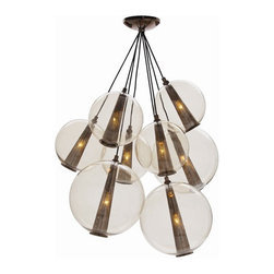 arteriors - Caviar Chandelier - The caviar chandelier features a brown nickel finished canopy with glass globes.
