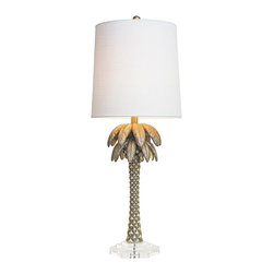 Couture - Couture Fiesta Key Palm Silver Table Lamp - Add a silver finish tropical touch to a dining room with this stylized palm table lamp. The stylized hand-cast palm tree of this transitional tropical modern table lamp features an embossed diamond pattern on the trunk and a rich opulent silver finish with touches of gold. A white linen hardback cylinder shade and a stacked, hexagonal clear acrylic base complete this marvelous look. Update your home lighting decor with this beautiful and stylish design.
