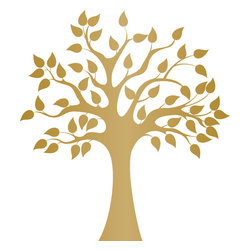 Modern Golden Tree Wall Decal - Ideal for homes, kids rooms, and schools.