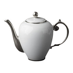 """L'Objet - L'Objet Aegean Platinum Tea/Coffee Pot - Limoges Porcelain, Made in Portugal. 24k Gold or Platinum Decorated. Dishwasher Safe on Delicate Setting. Not Microwave Safe Height 7"""", 52 oz.L'Objet is best known for using ancient design techniques to create timeless, yet decidedly modern serveware, dishes, home decor and gifts."""