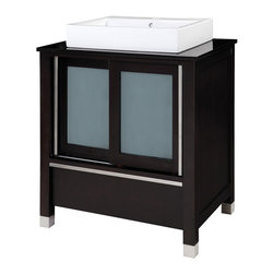 Decolav - Decolav Tyson Carmello Top Lavatory - DECOLAV's Tyson Vanity includes a black granite top and vitreous china lavatory with a single-hole faucet drilling. The double front sliding doors have a beautiful blend of frosted tempered glass .