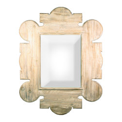 Gothic Wall Mirror with a Gray Wash Wax Finish - The fanciful, elaborate medieval-inspired outlines of Gothic Revival style meet the wonderfully weathered look of washed reclaimed lumber in the handcrafted Gothic Wall Mirror, a gorgeous hanging piece large enough for use as a full-length mirror or a grand overmantel accent in your traditional home.  Scalloped and lanceolate outlines are finely beveled for a flawless finish; deeper beveling surrounds the rectangular reflective pane.