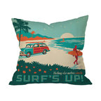 DENY Designs - Anderson Design Group Surfs Up Throw Pillow, 26x26x7 - Cowabunga! Ride a wave of nostalgia with this bodacious tribute to surfing, sand and sun. The retro design appears on both the front and back of this woven polyester pillow, which comes complete with insert. Perfect for the rumpus room, bedroom, beach — or wherever the tide takes you.