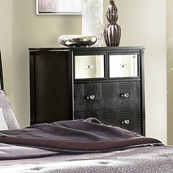 Homelegance - Homelegance Jacqueline Mirrored Drawer Front Chest in Black Faux Alligator - Glamour reigns supreme in the Jacqueline Collection.Faux alligator veneers are covered in black finish that is highlighted by the mirrored drawer fronts, while crystal button-tufting graces the cased pieces and headboard reflecting not only the light, but your personal style. With white bi-cast vinyl headboard, you can be assured that your personality is well represented. - 2299-9.  Product features: Jacqueline Collection; Contemporary Style; Faux Alligator Embossed Panel; Mirrored drawer fronts; Dovetailed Drawers; Ball Bearing Side Glide; Black Finish. Product includes: Chest (1). Mirrored Drawer Front Chest in Black Faux Alligator belongs to Jacqueline Collection by Homelegance.