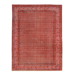 """ALRUG - Handmade Rose Persian Antique Vintage Rug 8' 2"""" x 10' 9"""" (ft) - This Persian Vintage design rug is hand-knotted with Wool on Cotton."""