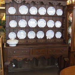 "Large French Country China Cabinet / Hutch - This is a fabulous French country style plate rack / china hutch with an open base. Measures 67.5"" wide x 18.5"" deep x 83"" high."
