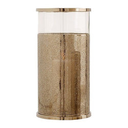 Arteriors Home - Arteriors Home Bombay Large Polished Nickel/Glass Hurricane - Arteriors Home 249 - Arteriors Home 2494 - Set the mood with candlelight with this clear glass hurricane with textured metal sleeve and banded in polished nickel finish. Available in 2 sizes. Candles not included.
