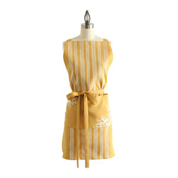 "Cricket Radio - Paradise Linen Apron, Mustard/White - It's lovely in paradise. Stylish and functional, our Paradise Linen Aprons feature long, versatile straps that can be tied multiple ways. Hand printed and sewn in Vermont using 100% Italian linen and eco-friendly, water-based inks. One Size. Unisex. 30"" top to hem. 22"" across front at the waist. 74"" fully-adjustable straps."
