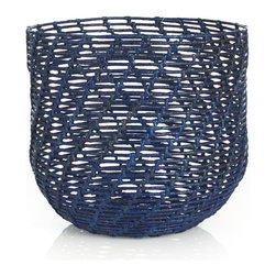 Caitlin Blue Round Basket - This rich blue really pops. It's a lovely addition to any room filled with cozy throws and pillows.
