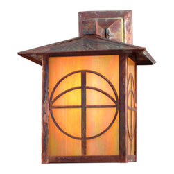 "Meyda Lighting - Meyda Lighting 9"" W Seneca Circle Cross Solid Mount Wall Sconce - A Circle And Cross Is Depicted On This Handsome American Craftsman Lantern Style Solid Mount Wall Sconce. The Fixture, Handcrafted In The USA By Meyda Artisans, Is"
