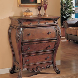Coaster - Brown Traditional Bombe Chest - Drop lid secretary bombe desk, with enough space for a laptop and ample storage space inside for your papers and pens. Storage drawers feature antiqued brass finished hardware.