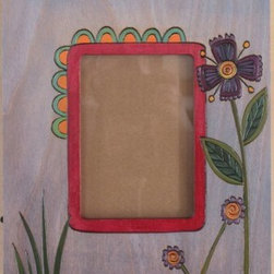 Sarah Grant / Sticks Furniture - Sticks 4x6 Picture Frame Pale Lavender ~ Designed Fall 2013 - This hand carved and hand painted frame is touched with a pale lavender wash that sets off the vivid, ruby-colored, inside framing and the rich purples of the blooms. Such a fun and unique frame for youthful and f