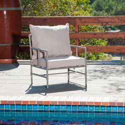 Great Deal Furniture - Tallahassee Outdoor Pipe Grey Armchair - Made of genuine steel pipes the Tallahassee armchair has an aesthetic design for classy modern homes. The Tallahassee combines a  modern, angular pipe frame with the convenience of outdoor cushions. You can comfortably relax on your outdoor patio or paired with a table.
