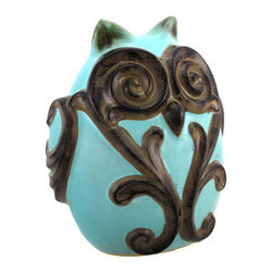 Light Blue Ceramic Owl Statue with Scroll Design - This ceramic owl statue adds an elegant accent to your home or garden. It is a beautiful light blue color with a glossy finish, accented by bronze swirls. The owl measures 9 1/2 inches tall, 7 3/4 inches wide, 5 inches deep, and has foam pads on the bottom to prevent it from scratching delicate surfaces in the home. This unique item is sure to be admired, and makes a great gift for a friend.