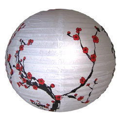 Oriental-Décor - Red Sakura Lantern - For a touch of the exotic in your home, hang this lovely sakura lantern over your dining room table. When lit from the inside, it will cast a warm, translucent pool of light.