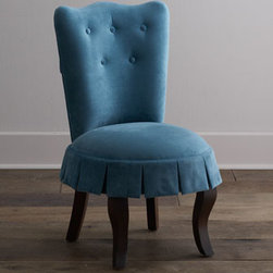 Horchow - Erica Vanity Chair - Exclusively ours. With its combination of scalloped back, button accents, box-pleated skirt, and curvaceous legs, this little vanity chair is a delightful addition to a bedroom, powder room, or dressing area. And its peacock-blue upholstery makes it a...