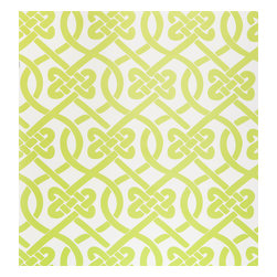 Kimberly Lewis Home - Knotted Wallpaper Sheet, Wasabi - Get ready to tie the knot. You'll love this classic and stylish pattern covering books on your shelf or behind the books on your shelf.