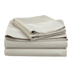 600 Thread Count Cotton Rich Olympic Queen Ivory Sheet Set, Stone - Cotton Rich 600 Thread Count Olympic Queen Stone Sheet Set