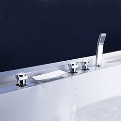 Bathtub Faucets - Brass Waterfall Tub Faucet with Hand Shower (Chrome Finish)---FaucetSuperDeal.com