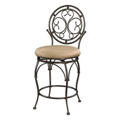 Powell - Powell Big and Tall Scroll Circle Back Counter Stool in Bronze - Scroll Circle Back Counter Stool in Bronze belongs to Big and Tall Collection by Powell The Big and Tall Scroll Circle Back Counter Stool has an elegant design and style. The stool features a warm bronze finish and a plush tan upholstered seat. Designed to suit people large and small, the seat is a generous size for optimal comfort. The tall back features an eyecatching scroll design. Perfectly suited for a kitchen counter, island or high top table.   Counter Stool (1)