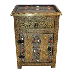 Badia Design Inc. - Moroccan Bronze Colored Metal and Bone Storage Cabinet - This is an exquisite and beautifully designed Moroccan bronze colored metal cabinet with white and orange bone – designed by our skilled Moroccan artisans.