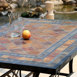"""Living'ROC - 78"""" Outdoor Patio Slate Stone Mosaic Dining Table - MAPLE - Mother Nature is your guest with this beautiful slate natural stone table MAPLE ( Outdoor & Indoor). Accommodating 6 to 8 persons MAPLE will allow relaxing and friendly moments with friends and family. For daily use the mosaic slate plate is very strong and easy to clean. MAPLE is sold without chairs. The various treatments applied on the plate as the base and chairs give our products exceptional strength stop rust to the wrought iron parts and sun and rain damage to the natural stone plate.  The amazing Slate color contrast you see on our photos has been accomplished by using the Darkener Lux Stone and beauty color enhancer. You can find this product here!  However you may keep the orginal matte color as seen  here in our patio portfolio. To complete your project with buying an impressive top of the range natural stone table you can add our wrought iron DIAMOND chair perfectly suited to the mood overall finish of the table and the base by clicking here! Every art piece is unique! Our slate is multicolored and color vary from one plate to another gray silver brown yellow ochre topaz etc.  The photos you see online have been taken with extreme care by our Founder CEO - Florent LEPVREAU because without them we would not be one of the natural stone business key player of the online European continent. Once you have encountered the product in your home you will always have pure happiness for the love of the materials. It will be beyond your expectations because what you see online at livingroc.net is what you will receive. This is why we always guarantee a degree of quality (Grade A) and impeccable finish as can attest with the reviews filed by our customers. We also draw your attention to the fact that veining misprints and other variations of colors (often on marble) and various stone particularities make all the charm of the stone and distinguish it from non-natural materials!  Simply our living"""