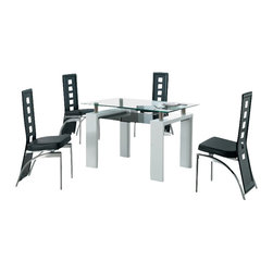 American Eagle Furniture - 233DT & 104CH White Table With Black Vinyl Chairs 5 Piece Dining Set - The 233DT & 104CH dining set is a great addition for any dining room that needs a touch modern design. The dining table has a glass table top with a two tier design. The main table top comes in a square clear glass look with the lower tier in a black tinted glass. The frame of the table features stainless steel spacers that connect the main table top to the white finished wooden legs. The chairs come upholstered in a stunning black vinyl material with high density foam placed within the cushion for added comfort. The chairs have a unique open square design on the back that adds to the overall look. The frame of the chairs are crafted from polished stainless steel with the backrests extending down to the legs. The dining set consist of a dining table and four chairs only.