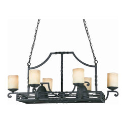 Triarch 31417 Granada Blacksmith Bronze Pot Rack Island Light