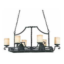 Triarch International - Triarch 31417 Granada Blacksmith Bronze Pot Rack Island Light - Triarch 31417 Granada Blacksmith Bronze Pot Rack Island Light
