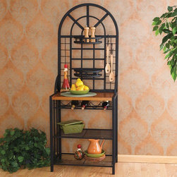 """Wildon Home � - Heights Baker's Rack - This substantial and beautiful bakers rack adds functional storage and display space. Get creative and arrange plants or spices in the 2 stylish basket shelves. It can hold up to 5 bottles of wine and includes 6 utility hooks that can be moved around and used for anything that you can imagine. Features: -Tubular steel construction with a durable black finish.-Distressed: No.-Powder Coated Finish: No.-Frame Material: Steel.-Shelf Material: Wire; Wood.-Solid Wood Construction: No.-Rust Resistant: No.-Fade Resistant: No.-Scratch Resistant: No.-Tarnish Resistant: No.-Stain Resistant: No.-Number of Shelves: 5.-Adjustable Shelves: No.-Number of Baskets: 2.-Removable Serving Tray: No.-Wine Glass Storage: No.-Foldable: No.-Outdoor Use: No.-Swatch Available: No.-Commercial Use: No.-Recycled Content: No.-Eco-Friendly: No.-Product Care: Wipe clean with a dry cloth.Dimensions: -Shelf Height: Top Shelf - 13""""; Bottom Shelf - 10.5"""".-Shelf Width - Side to Side: Top Surface - 25.75""""; Top Shelf- 24""""; Bottom Shelf - 24"""".-Shelf Depth - Front to Back: Top Surface - 16""""; Top And Bottom Shelves - 16.25"""".-Clearance from Floor to Bottom Shelf: 3"""".-Overall Product Weight: 47 lbs.Assembly: -Assembly Required: Yes.-Tools Needed: Phillips No.2 screwdriver.-Additional Parts Required: No.Warranty: -Product Warranty: 1 Year Limited Manufacture Warranty."""