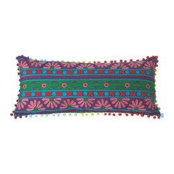 Sunset Shores Throw Pillow - Beautiful embroidery in bold colors and patterns lights up the fabric of this fun, daring pillow. Down to its multicolored pompom trim, it's a perfect boho-glam addition to an eclectic armchair, bed, or couch.
