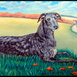 Caroline's Treasures - Scottish Deerhound  Indoor Or Outdoor Mat 24X36 Doormat - Indoor / Outdoor Mat 24x36 - 24 inches by 36 inches. Permanently dyed and fade resistant. Great for the front door or the back door.  Use this mat inside or outside.    Use a garden hose or power washer to chase the dirt off of the mat.  Do not scrub with a brush.  Use the Vacuum on floor setting.  Made in the USA.  Clean stain with a cleaner that does not produce suds.