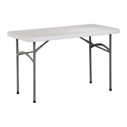 Office Star - 4 Foot Resin Multi-Purpose Folding Table - This 4 foot Multi-Purpose table features a solid metal frame and a durable resin construction.  A great way to add more counter space, this convenient table will allow room for more guests at any party! * Folding. Resin construction. Metal Frame. 48 in. W x 24 in. D x 29.25 in. H. 48 in. W x 24 in. D x 29.25 in. H. Light Grey