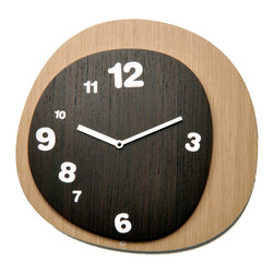 WS Bath Collections - Woodie 1905 Light Wood/Dark Wood Wall Clock - Wall clock made in wood. Battery quartz movement.