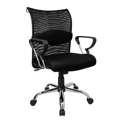 Flash Furniture - Contemporary Manager's Chair in Mesh Fabric w - In a contemporary work area, this manager's chair will be a perfect fit. It offers floating armrests with black padded accents that match the upholstered seat. Mesh fabric is a winner, too, with its adjustable lumbar strapping for enhanced ergonomic support. Thick padded seat with mesh fabric. Adjustable thick lumbar support. Extremely comfortable mesh chair. Locking tilt control. Tension control. Pneumatic gas lift. Durable polished aluminum base. Dual wheel casters. Coat rack on back of chair. Seat: 19.5 in. W x 19.75 in. D. Back: 19.25 in. W x 20 in. H. Seat Height: 18 in. - 21 in. H. Arm Height: 7.5 in. (from Seat); 25 in. - 28 in. (from Floor). Overall: 23.75 in. W x 22 in. W x 37 in. - 40 in. H (40 lbs.)