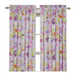 Room Magic - Room Magic Magic Garden Window Panels Curtain Set - RM16-MG - Shop for Window Treatments from Hayneedle.com! The Room Magic Magic Garden Window Panels Curtain Set coordinates with the series' bedding set knobs and accessories for a complete matching look. This adorable designer fabric has a colorful array of fairies flowers bees and butterflies. At 84 inches long and 59 inches wide the two panels perfectly cover even large windows.About Room MagicRoom Magic doesn't just make children's furniture; they design furniture specifically for children using the magic of childhood imagination and creativity as a guiding principle. Beginning in 1999 with graphic designer Karen Andrea's attempt to create a truly lively and unique room for her five-year-old daughter Sarah the company has maintained a focus on using bright colors and unique themes that steer clear of cliched motifs. Bright and bold playful cut outs decorate the quality hardwood pieces finished with beautiful stains. With collections that are geared both to boys and to girls Room Magic provides the furniture accessories and bedding you need to bring the magical fun of childhood to your kids' rooms.