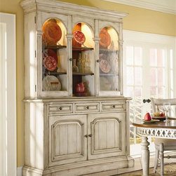 Hooker Furniture - Summerglen Buffet w Lighted Glass Door Hutch - Hand painted. Made from hardwood solids with cherry veneers. Casual country dining group. Buffet:. Three drawers. Two doors. Levelers. 60.50 in. W x 20.50 in. D x 40.25 in. H (250 lbs.)Hutch:. Reversible back panel. Two wood-framed outside doors with restoration glass. Lights with touch light control. Two adjustable shelves behind each door. Center opening with light and two adjustable shelves. 64.50 in. W x 16.25 in. D x 50 in. H (211 lbs.)